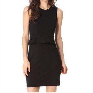 THEORY Dellera Peplum Knit Sheath Black Dress